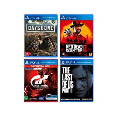 Jogo Days Gone + Jogo Gran Turismo Sport - Playstation Hits + Jogo Red Dead Redemption 2 + Jogo The Last Of Us: Part II - PS4