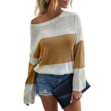 Saslax moletom feminino leve de malha gola redonda manga comprida despojado Color Block blusa solta ajuste pulôver suéter túnica tops, Bronze, Large