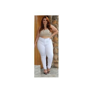 Calça Jeans Plus Size Tamanho especial com laicra branca