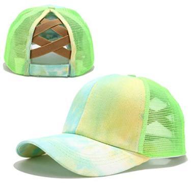 Beerty Boné de beisebol feminino, colorido tie-dye boné de beisebol rabo de cavalo cruzado nas costas, chapéu de sol com fecho traseiro, Verde, 56-60cm(22.05-23.62in)