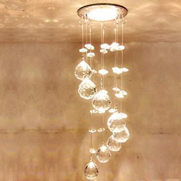 Uonlytech Lustre de cristal moderno para cozinha, 3 W pequeno pingente de cristal luminária de teto de vidro espiral para varanda, sala de estar, sala de jantar