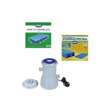 Kit Capa + Forro + Filtro Bomba Para Piscina Premium 5000 Litros - Mor