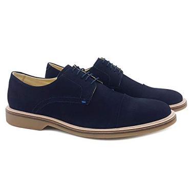 Sapato Social em Couro Masculino Dia a Dia Confortável Liso Azul Marinho 41