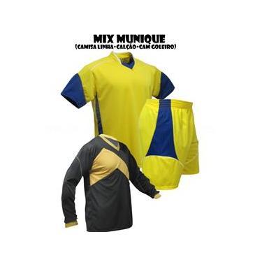 Uniforme Esportivo Munique 1 Camisa de Goleiro Omega + 7 Camisas Munique + 7 Calções - Royal x Amarelo x Branco