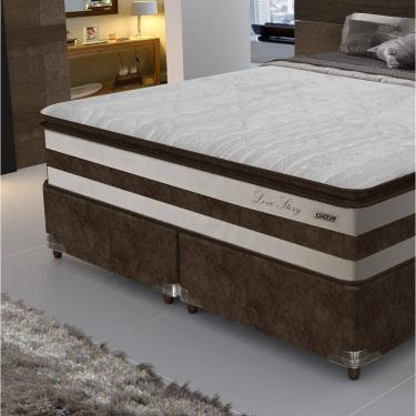 f8bbaf8ddf Conjunto Box king Size Love Story pillow top Gazin - Suede Marrom