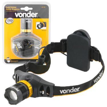 Lanterna de Cabeça LED CREE Profissional Tática Policial 3W Foco Ajustável 130LM 3 Estágios Vonder