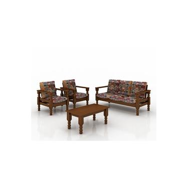 Conjunto sofá de madeira 3 e 1 e 1 lugares com almofadas