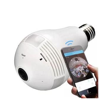 Camera Lampada Alta Definicao 360 Panoramica Espia Wifi Ip HD Vr V380