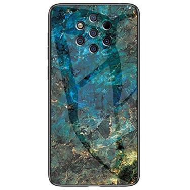 MOONCASE Capa para Nokia 9 PureView, ultrafina macia TPU à prova de choque, resistente a arranhões e impressões digitais, capa moderna de vitral para Nokia 9 PureView 6 polegadas (esmeralda)