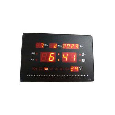 4f962d31600 Relógio De Parede Digital Painel Led data Termometro Mesa P