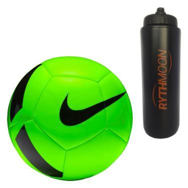 Kit Bola Futebol Campo Nike Pitch Team SC3166 Verde Preto + Squeeze  Automático 1lt b4c97f54c6266