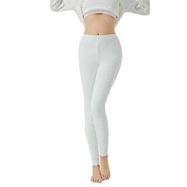 Dmsky Calça legging feminina skinny aveludada super macia para ioga, Branco, L