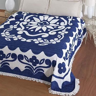 Imagem de Colcha Chenille Jolitex Casal Flórida Com Franja 2,20x2,40m Azul