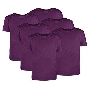 Kit com 6 Camisetas Básicas Algodão Violeta Tamanho M