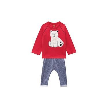 Conjunto Kyly Moletom Urso Vermelho e Mescla IN18 206719