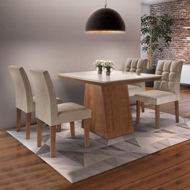 Imagem de Conjunto Sala de Jantar Mesa Sevilha I Tampo de Vidro 4 Cadeiras Vitoria Siena Móveis Chocolate/Pena 84