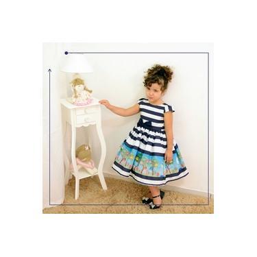 Vestido festa infantil com estampa de corujas azul