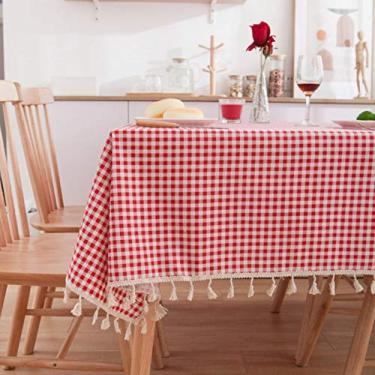 Imagem de Toalha de mesa retangular toalha de mesa de cozinha vermelha malha algodão e cânhamo foto fundo quadro piquenique festa - malha vermelha, 140 x 250 cm