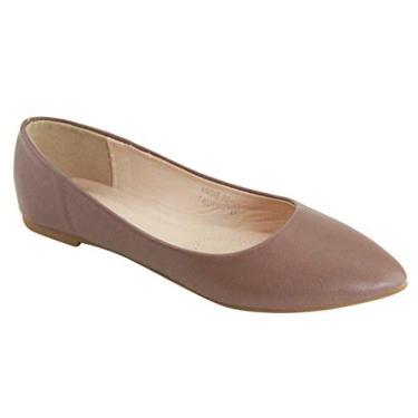 Bella Marie Angie-53 sapatilha feminina clássica bico fino balé sem cadarço, Taupe-pu52, 9