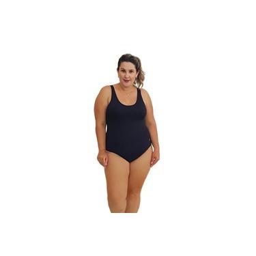 Maiô Natação Plus Size com Bojo Light UV 50+ Preto