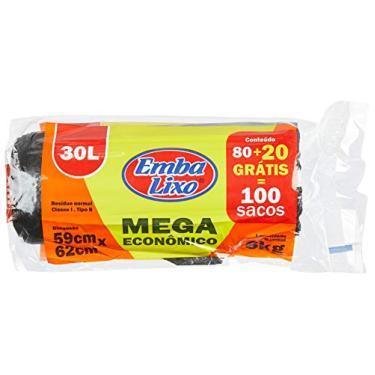 Saco Lixo Embalixo Mega Econômico 30 Litros, Pacote de 100 Unidades