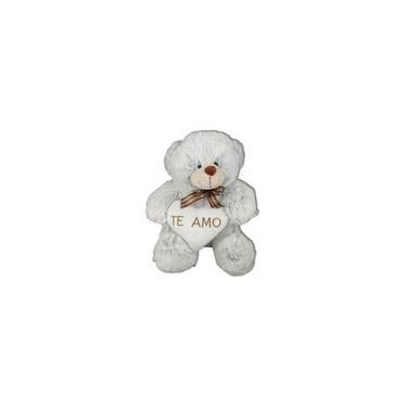 Imagem de Urso Pelúcia Coração Te Amo 30cm Branco Cinza Namorados F