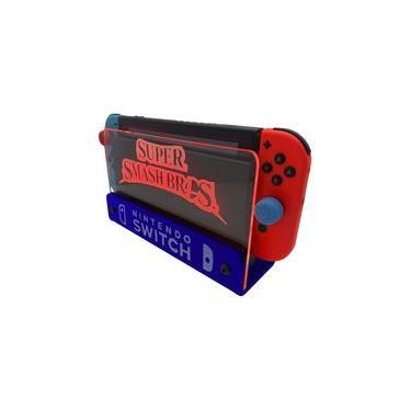 Suporte Bancada/Parede Nintendo Switch Iluminado - Smash Bros - Base Azul LED Vermelho