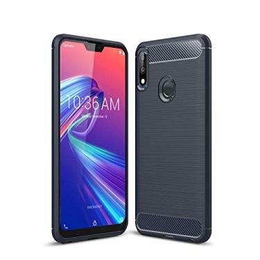 Capa para celular Asus Zenfone Max Pro M2 ZB631KL, capa traseira de fibra de carbono ultrafina, amortecedor de TPU (poliuretano termoplástico), 1 película 9H de vidro temperado HD transparente