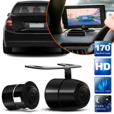 Câmera de Ré Universal 2 em 1 Borboleta e Parachoque ou Placa Colorida com Kit Instalação