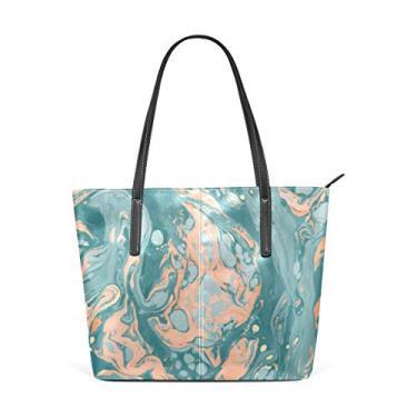 Cooper girl Bolsa de ombro feminina turquesa Marble bolsa de couro para viagem, trabalho, compras