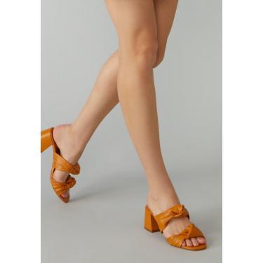 Sandália AMARO Mule Nó Salto Flare Mostarda  feminino