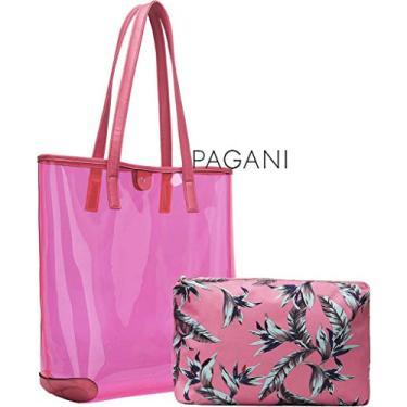 Kit Bolsa De Praia Feminina Transparente Coleção Palha Chic Vinil Tote Grande Rosa Várias Cores + Necessaire Tema Tropical Flamingo Pagani Semax