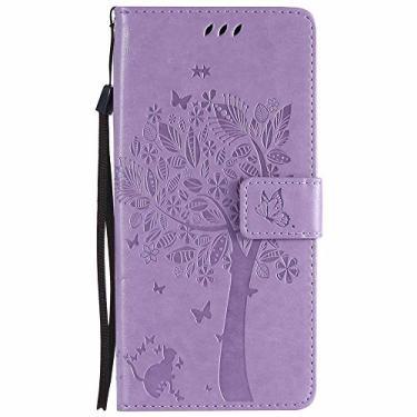 Capa para Galaxy S9 Plus em relevo, estampa de borboleta, gato, de couro PU, carteira com suporte para Samsung Galaxy S9 Plus - Violeta