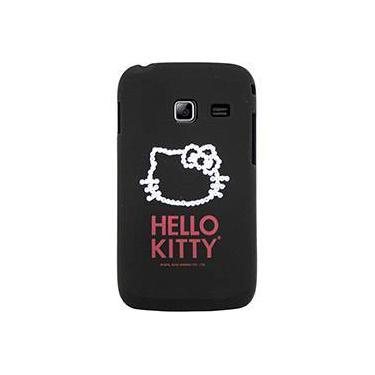 Capa para Celular Galaxy Y Duos Hello Kitty Cristais Policarbonato Preta - Case Mix