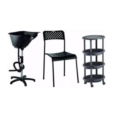 Kit Básico Salão de Beleza Lavatório Portátil + Cadeira + Carrinho Dompel
