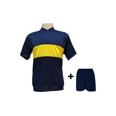 Uniforme Esportivo com 14 Camisas modelo Boca Juniors Marinho/Amarelo + 14 Calções modelo Madrid Marinho