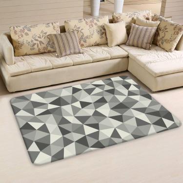 Tapete Sala Love Decor Triângulos Cinza