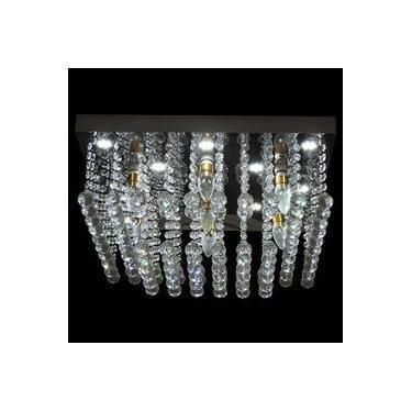 Lustre Led Cristal Diamante Quadrado 1566/600 Diamante Decor Bivoltv Transparente