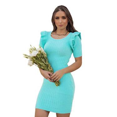 Vestido Modal Tricot Canelado Com Babados No Ombro (Azul-turquesa, G)