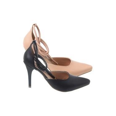 Sapato Amarração Scarpin Salto Alto Tiras Tornozelo Promoção