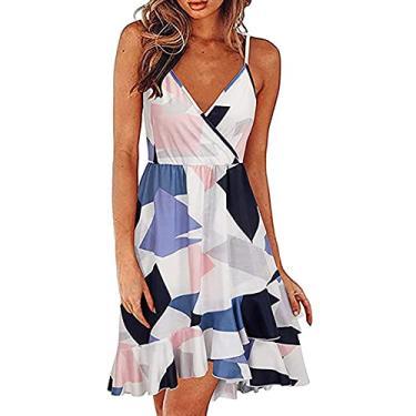 Imagem de maiduoduo01 Vestidos de verão modernos para mulheres, vestido com gola V, babados, 4 cores, vestido evasê com estampa floral para encontros branco M