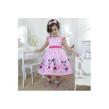 Vestido festa infantil Minnie Rosa superluxo