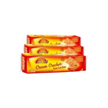 Biscoito Cream Cracker Sem Lactose Liane Contendo 3 Pacotes De 200g Cada