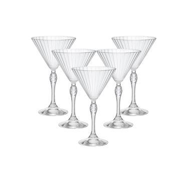 Jogo Com 6 Taças de Cristal Para Martini 245ml America'20s - Bormioli Rocco - Fabricado na Itália