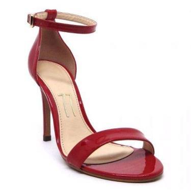 Sandália Vermelha Verniz Salto Alto Fino Agulha Tira