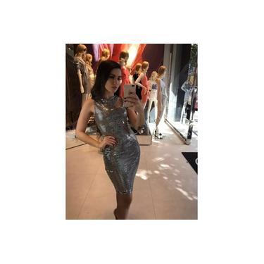 Vestido Miss Misses vazado Prata