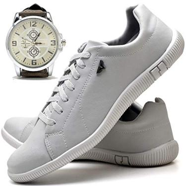 Kit Sapatênis Sapato Casual Com Relógio New Masculino DUBUY 900DB Tamanho:38;cor:Branco;gênero:Masculino