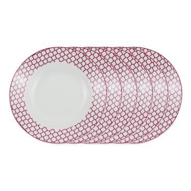 Jogo de pratos fundo em porcelana Casambiente Agatha 20cm rosa 6 peças