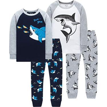 Pijama infantil de algodão para meninos e caminhões, 4-pcs-new-kids-sharks, 7