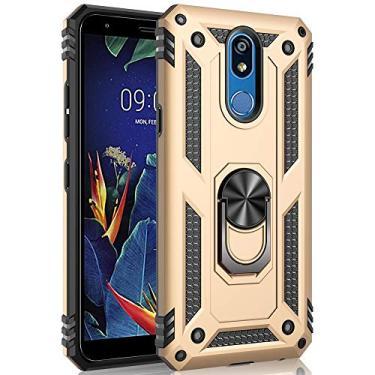 Hicaseer Capa para LG K40, policarbonato + TPU antiqueda, antichoque, antiarranhões, magnético, rotação de 360 graus, capa completa para LG K40 – Dourado